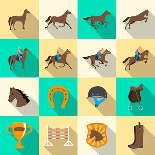 Horseback riding flat shadows icons set of horse rider sport dressage and horseshoe isolated vectorのイラスト素材 [FYI03091219]