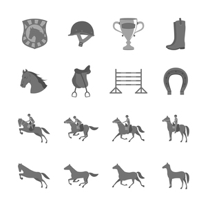 Horse with riders flat icons set of cup barrier saddle and horseshoe isolated vector illustrationのイラスト素材 [FYI03091220]