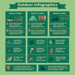 Camping and outdoor recreation travel infographic elements for web design and presentation vector ilのイラスト素材 [FYI03091222]