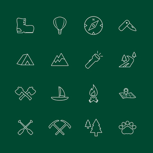 Outdoors tourism camping internet website elements of fire camp axe and boots isolated vector illustのイラスト素材 [FYI03091224]