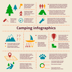 Camping and outdoor activity tourism infographic elements for web design and presentation vector illのイラスト素材 [FYI03091226]
