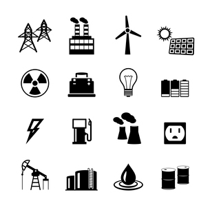Energy power pictograms collection of light bulb electric battery and fossil fuels isolated vector iのイラスト素材 [FYI03091227]