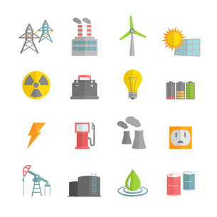 Energy power flat icons set of solar panels wind turbine and nuclear plant isolated vector illustratのイラスト素材 [FYI03091228]