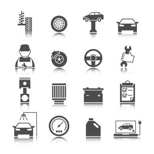 Car auto service icons set of mechanic maintenance engine repair and garage isolated vector illustraのイラスト素材 [FYI03091229]