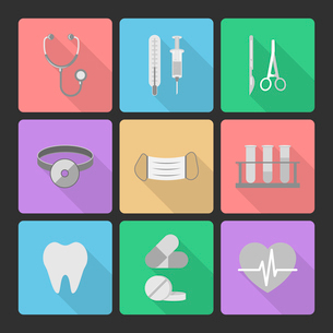 Medical icons set of stethoscope syringe mask thermometer isolated vector illustrationのイラスト素材 [FYI03091232]