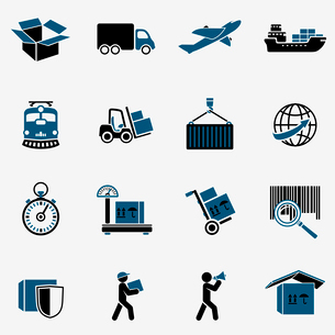 Logistic transportation service icons set of shipping delivery and supply chain isolated vector illuのイラスト素材 [FYI03091233]