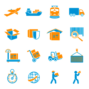 Logistic shipping delivery icons set of freight cargo truck export and import isolated vector illustのイラスト素材 [FYI03091234]