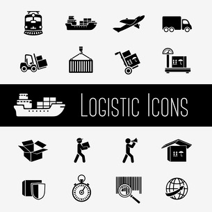 Logistic global supply chain icons set of transportation shipping and delivery isolated vector illusのイラスト素材 [FYI03091235]