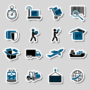 Logistic transportation services stickers collection of cargo shipping technology vector illustratioのイラスト素材 [FYI03091236]