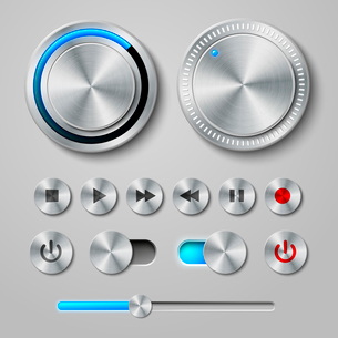 Metal interface buttons collection for power volume playback control vector illustrationのイラスト素材 [FYI03091243]