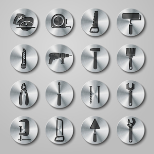 Toolbox icons set on round metal buttons of wrench hammer spanner and screw isolated vector illustraのイラスト素材 [FYI03091244]
