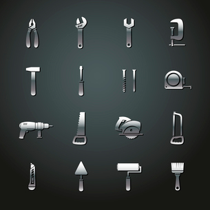 Collection of metal tool stickers of wrench hammer spanner and screw isolated vector illustrationのイラスト素材 [FYI03091248]