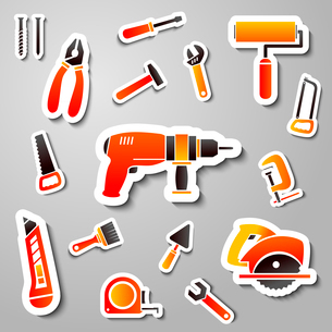 Collection of tool stickers of wrench hammer spanner and screw isolated vector illustrationのイラスト素材 [FYI03091250]