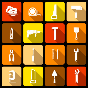 Tools icons set of wrench hammer spanner and screw isolated vector illustrationのイラスト素材 [FYI03091252]