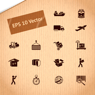 Logistic transportation service icons set of shipping delivery and supply chain on cardboard vectorのイラスト素材 [FYI03091253]