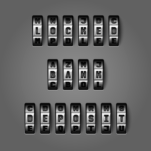 Locked bank deposit words by mechanical alphabet for combination codes concept vector illustrationのイラスト素材 [FYI03091254]