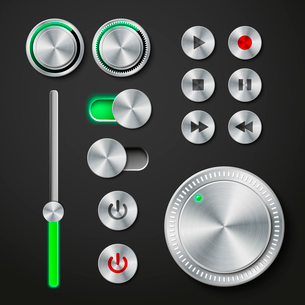 Metal interface buttons collection for power volume playback control vector illustrationのイラスト素材 [FYI03091259]