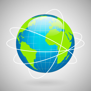 Earth globe icon with global technology or social connection network concept vector illustrationのイラスト素材 [FYI03091265]