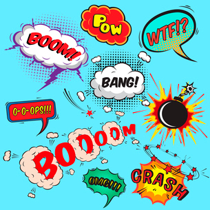 Comic speech bubbles design elements collection isolated vector illustrationのイラスト素材 [FYI03091268]