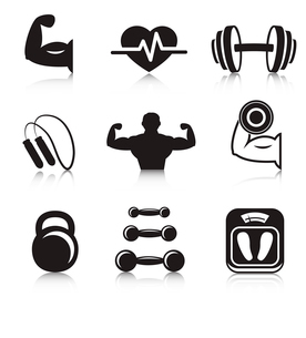 Fitness bodybuilding sport icons set of strength and slimness training exercises isolated vector illのイラスト素材 [FYI03091276]