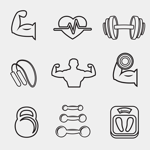 Fitness bodybuilding sport icons set of skipping rope dumbbells weight scales isolated vector illustのイラスト素材 [FYI03091280]