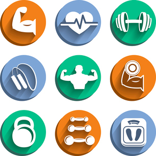 Fitness bodybuilding sport icons set of diet dumbbells healthy body isolated vector illustrationのイラスト素材 [FYI03091281]