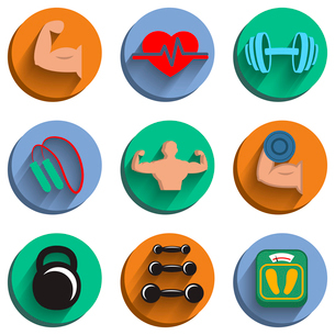 Fitness bodybuilding sport icons set of heart rate physical strength slimness isolated vector illustのイラスト素材 [FYI03091289]
