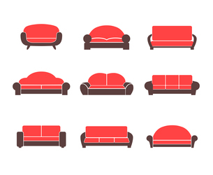 Comfortable sofas and couches furniture flat icons set for living room isolated vector illustrationのイラスト素材 [FYI03091293]