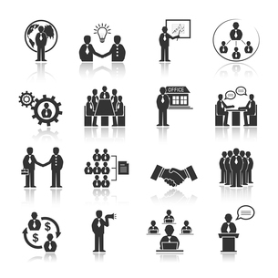 Business people meeting at office conference presentation icons set isolated vector illustrationのイラスト素材 [FYI03091295]