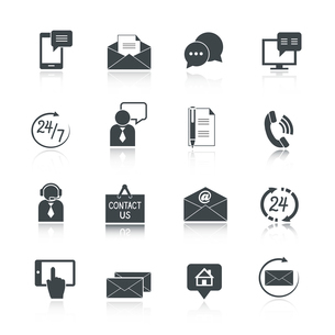 Contact us service icons set of email phone communication and representative person isolated vectorのイラスト素材 [FYI03091297]
