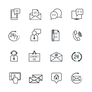 Customer support service contact us pictograms collection isolated vector illustrationのイラスト素材 [FYI03091299]