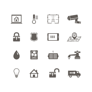 Smart home automation technology icons set of utilities surveillance camera and blueprint isolated vのイラスト素材 [FYI03091301]
