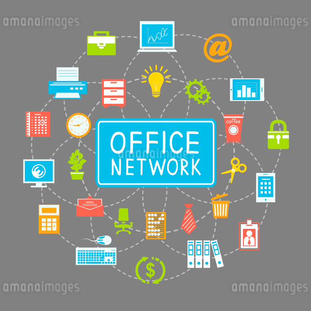 Business office networking and communication concept with stationery supplies vector illustrationのイラスト素材 [FYI03091303]