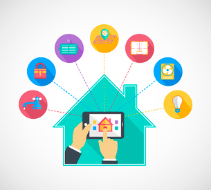 Hand holding mobile phone tablet controls smart home automation technology flat concept vector illusのイラスト素材 [FYI03091304]