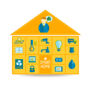 Smart home automation technology concept with utilities icons of waste recycling blueprint and surveのイラスト素材 [FYI03091305]
