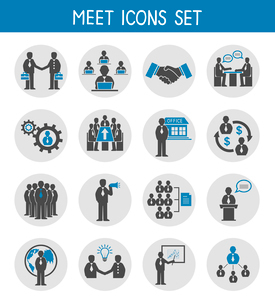 Flat business people meeting icons set of management and leadership isolated vector illustrationのイラスト素材 [FYI03091310]