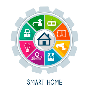 Smart home automation technology concept utilities safety security power and temperature control icoのイラスト素材 [FYI03091314]