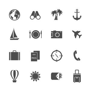 Holidays vacation pictograms collection of yacht plane sun and balloon isolated vector illustrationのイラスト素材 [FYI03091317]