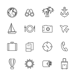 Vacation leisure pictograms set of airplane boat globe and tickets isolated vector illustrationのイラスト素材 [FYI03091318]