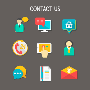 Contact us using phone call email website or mobile application flat icons set isolated vector illusのイラスト素材 [FYI03091325]