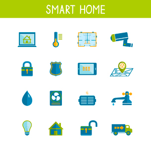 Smart home automation technology icons set of utilities safety energy efficiency and power saving isのイラスト素材 [FYI03091327]