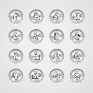 Contact us service icons set on control metal buttons of email phone communication and representativのイラスト素材 [FYI03091330]
