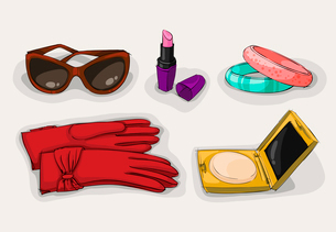 Fashion collection of classic women accessories of sunglasses lipstick cosmetic powder case and ornaのイラスト素材 [FYI03091341]