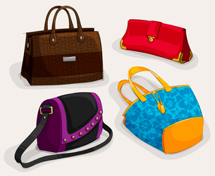 Fashion woman,s bags collection of classic leather bag handbag satchel and clutch isolated vector ilのイラスト素材 [FYI03091342]