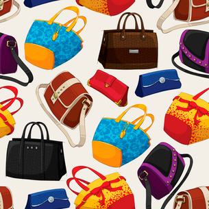 Seamless woman,s fashion bags pattern background vector illustrationのイラスト素材 [FYI03091343]