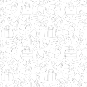 Seamless woman,s stylish bags sketch pattern background vector illustrationのイラスト素材 [FYI03091347]