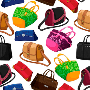 Seamless woman,s fashion bags handbag clutch pouch and satchel pattern background vector illustratioのイラスト素材 [FYI03091354]