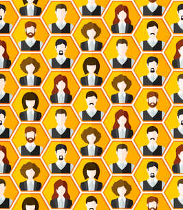 Seamless avatar characters pattern background wall of human faces vector illustrationのイラスト素材 [FYI03091361]