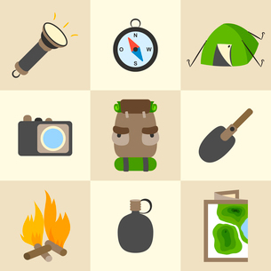 Outdoors tourism camping colorful icons set of compass map tent and backpack isolated vector illustrのイラスト素材 [FYI03091362]