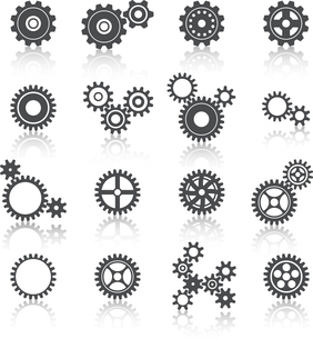 Abstract technology cogs wheels and gears icons set vector illustrationのイラスト素材 [FYI03091363]